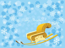 New year's sleigh. Illustration of  holiday postcard with the congratulatory inscription and  sleighs Royalty Free Stock Photos