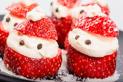 New Year's snack from strawberry and cream Stock Images