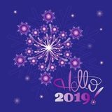 New Year`s snow fireworks. Hello, 2019!. Design to design banner, poster, greeting cards vector illustration