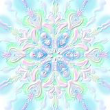 New Year`s snowflake embossed convex pink-green Stock Image