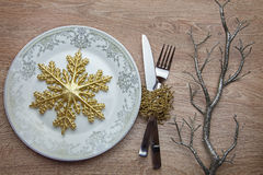 New Year's snowflake on the plate stock image