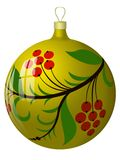 New Year's sphere with hohloma. The image of the New Year's sphere ornamented under hohloma Royalty Free Illustration