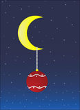 New Year's sphere on the moon. In the star sky.Vector illustration Stock Photography