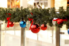 New Year's spheres on fir-tree branches Stock Image