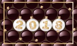 2018 New Year`s spheres with golden text. Christmas ball. design element. vector illustration. 2018 New Year`s spheres with golden text. Christmas ball. design Stock Image