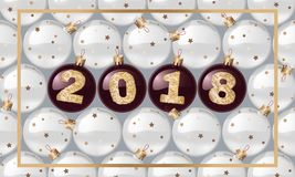 2018 New Year`s spheres with golden text. Christmas ball. design element. vector illustration. 2018 New Year`s spheres with golden text. Christmas ball. design Royalty Free Stock Photo