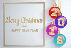 2018 New Year`s spheres with golden text. Christmas ball. design element. vector illustration. Merry Christmas. 2018 New Year`s spheres with golden text. 3d Royalty Free Stock Images