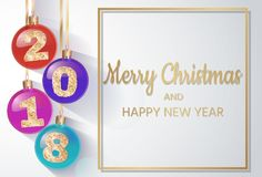 2018 New Year`s spheres with golden text. Christmas ball. design element. vector illustration. Merry Christmas. 2018 New Year`s spheres with golden text. 3d Stock Image