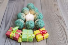 New Year`s spruce from woolen yarns. Green Stock Images