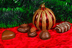 New Year's still life of chocolate candy Stock Photos