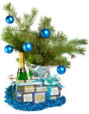 New Year's still-life-fur-tree branches, a tinsel Royalty Free Stock Photography