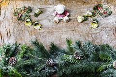 New Year`s still-life - postcard on the background of sacking Royalty Free Stock Images