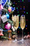 New Year`s still-life with glasses of champagne. Rustic style. New Year`s still-life with two glasses of champagne. Rustic style stock image