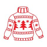 New Year`s sweater with Christmas trees cheerful contour. New Year`s sweater with fir-trees and snowflakes contour cute Royalty Free Stock Photos