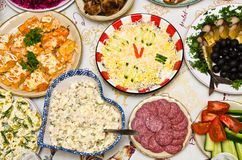 New Year's table. Table served for New Year Celebration Royalty Free Stock Photography