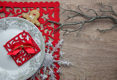 New Year's table decoration with gingerbread man stock photography
