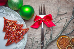 New Year's table decoration with green and red colors stock photo