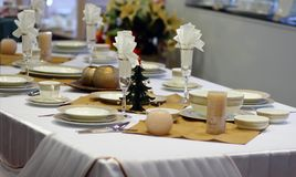 New Year's table serving. Festive New Year's table serving. Christmas table royalty free stock photography