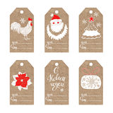 New Year`s  tags. Collection of  kraft paper tags with New Year symbols. Rooster- animal symbol of new year 2017. Vector illustrat Royalty Free Stock Photos