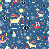 New Year's texture with deer stock illustration