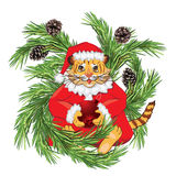 New Year's tiger. 2010 New Year's symbol tiger like Santa Claus Royalty Free Stock Photos