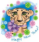 New Year's tiger. New Year's card with a tiger, 2010 on the Chinese horoscope - year of a tiger. A  picture Royalty Free Stock Photo