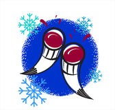New Year's toast. Two drinking horn with wine and snowflakes royalty free illustration