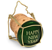 New Year's toast. Close up of champagne cork on white background Royalty Free Stock Images