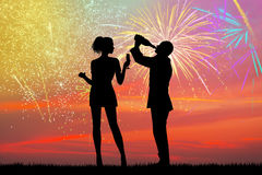 New Year's toast with fireworks explosion. Illustration of New Year's toast with fireworks explosion Royalty Free Stock Image
