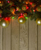 New Year`s top border frame. Christmas wooden background. Stock Photos