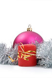 New Year's toy and candle. Isolated New Year's toy and candle on a white background Royalty Free Stock Photo