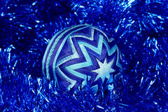 New Year's toy , dark blue ball, Christmas toy Royalty Free Stock Photos