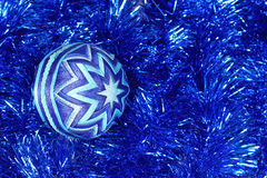 New Year's toy , dark blue ball, Christmas toy Stock Image