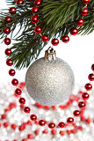 New Year's toy and garland. New Year's ball and garland on white background Royalty Free Stock Images