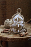 New Year's toy of handwork and cinnamon stick Royalty Free Stock Photography