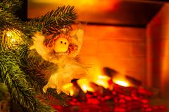 New Year`s decoration. Christmas tree and toys on it, close-up. stock photos