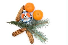 The New Year`s toy and tangerines are isolated on a white background stock photos