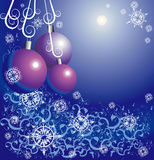 New Year's toys. Among snowflakes and a flower ornament Royalty Free Stock Photos