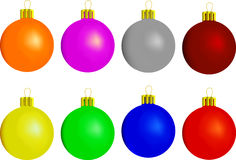 New Year's toys. Eight New Years toys on  white background Royalty Free Stock Image