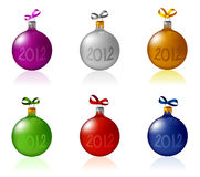 New Year's toys 2012. Collection of New Year's balls with the inscription 2012 stock illustration