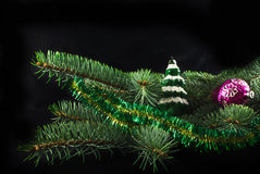 New Year's toys. Fur-tree decorated with New Year's toys Royalty Free Stock Photography