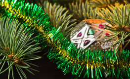 New Year's toys. Fur-tree decorated with New Year's toys vintage Stock Photography
