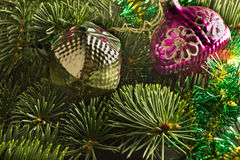 New Year's toys. Fur-tree decorated with New Year's toys vintage Royalty Free Stock Image
