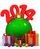 New Year's toys beads boxes Royalty Free Stock Images