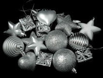 New Year's toys on a Christmas tree Royalty Free Stock Image