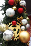 New Year`s toys on a  Christmas tree Royalty Free Stock Photo