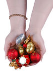 New Year's toys in female hands Stock Photo