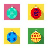 New Year`s Toys flat icons in set collection for design.Christmas balls for a treevector symbol stock web illustration. Royalty Free Stock Photography