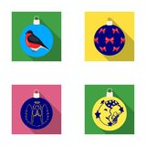 New Year`s Toys flat icons in set collection for design.Christmas balls for a treevector symbol stock web illustration. Stock Photo