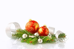 New Year's toys and fur-tree branch Royalty Free Stock Photo